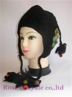 Woolen Animal Hand Made Knitt Hat Black Flower