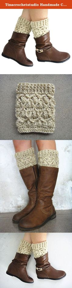 """Tinacrochetstudio Handmade Crochet Boot Cuffs Chunky Stretchy (Beige). We are family business. All items in my shop are all 100% handmade crocheted in a pet-free, smoke-free, clean home. Every item was uniquely crocheted with love. We hope you may love them as we do. Measured about 12""""-16"""" in calf circumference and 5.5-6"""" in length. Black, gray, beige, ivory colors are available. If you need them to be made in a different color or size. Pls feel free to request a custom order. thanks."""