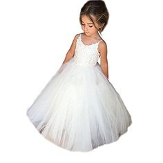 51c9bef3cf Kalos Dress Shop Lace Flower Girls Dress Tulle Ball Gowns First Communion  Dresses