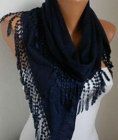 Lace Scarf -  scarf shawl - Sale scarf - Free scarf - Navy Blue - fatwoman