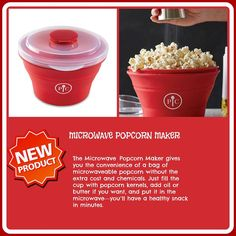 NEW!   The Microwave Popcorn Maker gives you the convenience of a bag of microwaveable popcorn without the extra cost and chemicals. Just fill the cup with popcorn kernels, add oil or butter if you want, and put it in the microwave—you'll have a healthy snack in minutes.