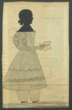 Antique American Folk Silhouette of Girl with Book. Probably from Maine