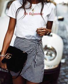 $15 La Femme Red Logo Plain White Tee With Black And White Gingham Checked Wrap Around Mini Skirt