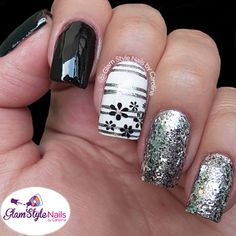 Black, white and silver nail art. Pretty stripes and flowers Nail Designs 2014, Cute Nail Designs, Cute Nails, Pretty Nails, Hair And Nails, My Nails, Nail Polish Style, Fabulous Nails, Creative Nails