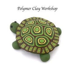 polymer clay turtle. Complete, detailed tutorial. This cute turtle uses a round tin and some easy-to-make canes. I haven't seen this tutorial before. Love this!