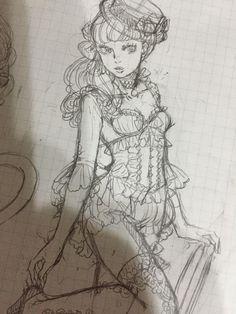 #Dessin #Croquis sketch fille lolita par sakizo