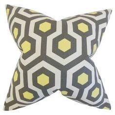 Add contemporary appeal to your study or lounge with this cotton cushion, featuring a geometric print. Display alone for a focal point or amongst other cushions for a cosy place to read a book.  Product: CushionConstruction Material: Cotton cover and down feather fillColour: Grey and yellowFeatures:  Made in the USAInsert includedReversible with same fabric on both sides Removable cover with hidden zipper closure Iron safe  Dimensions: 46 cm x 46 cm Cleaning and Care: Spot clean only