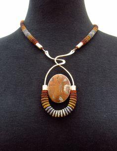 Necklace | Linda Magi. Argentium silver with Jasper Stone and Miniature Crocheted Cotton Cord