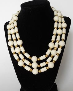 Vintage White Chunky Lucite Triple Strand by MawsVintageAdornment
