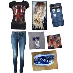 Doctor Who by jazzyboo-395 on Polyvore featuring polyvore, fashion, style, Dondup and Converse