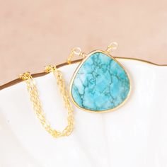 Hermes Faceted Turquoise Necklace Turquoise by NesoiCollection