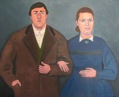 An old-fashioned couple from Ireland - prop for a movie. People portrait, oil on canvas by Kasia Jones www.kasiajones.com
