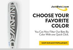 Shop for your next baseball or softball bat by your favorite color with the JustBats color filters!