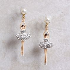 The Sugar Plum Fairy always has ballerina friends to dance with no matter the time of year! These lovely Sashaying Silver CrystalsBallerina Earrings arejust o
