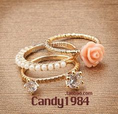 flower pearl gold plated rings