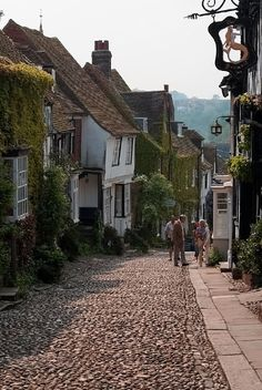 Cobbled Mermaid Street, Rye, East Sussex, England, with the sign of The Mermaid Inn (built c. 1420), upper right.  Photo by  jt38 on flickr, ©2012  - (via Cheri228) [Please keep photo credit and original link if reusing or repinning. Thanks!]