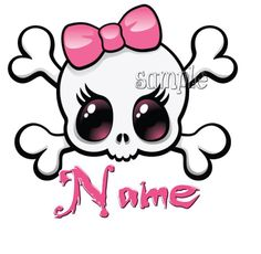 Skull Pink Bow Personalised