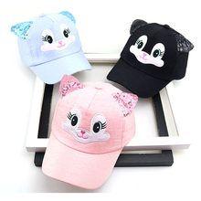 f8aa4379932 Bebé de dibujos animados lindo niño coreano gato gorras de béisbol  Primavera Verano nuevo bebé niño