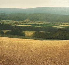 Benoit Trimborn > VILLAGE ET MONTAGNES, Oil on canvas, 180x190cm, 2015