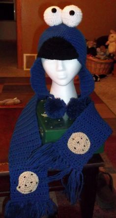 crochet Monster hat inspired by Cookie Monster with matching scarf