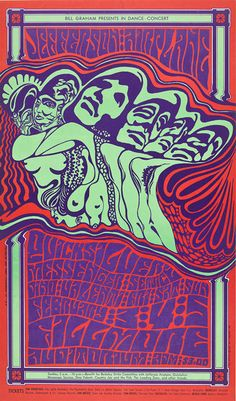 "This Wes Wilson poster for a 1967 Jefferson Airplane/ Quicksilver Messenger Service concert is among the pieces on display in the ""Visual Trips"" exhibit. Collection of Teresa and Paul Harbaugh"