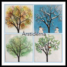 Årstider - träd med fyra olika tekniker: Tanken har varit att använda olika tekniker. Dock har vi använt samma stam, vilket kan diskuteras om man ska göra eller ej. Höst - målades med diskborste, vinter - ritades med tavelkrita, vår - målades med tops och fågelbona med tandpetare, sommar - sockerlösning. Från fb-Catarina Olsson