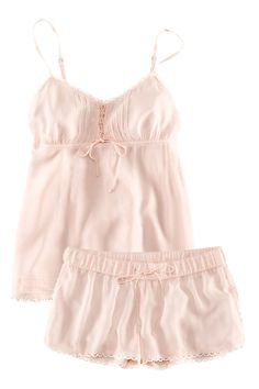 Light pink pajamas. I have an obsession with pjs lol, these would be perfect for summer!