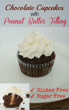 Chocolate Cupcakes with Peanut Butter Filling Recipe - Gluten Free and Sugar Free Yummy Dessert Tutorial. Detail on Frugal Coupon Living.