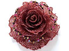 ワインカラー薔薇のビーズコサージュ   -   Wine color rose beads corsage