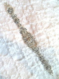XR289 Crystal Rhinestone Applique Silver Setting w/ Pearls Bridal Sash Patch Motif 15""