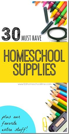 30 Must have Homeschool Supplies plus our favorite extra stuff - These are great for new homeschoolesr and every homeschooling family to have on hand for next year. Stock up on back to school sales!