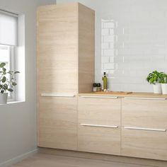 "ASKERSUND Door, ash light ash effect, 12x30"" - IKEA Light Wood Cabinets, Light Wood Kitchens, Base Cabinets, Ikea Cabinets, Small Kitchens, Interior Modern, Corner Base Cabinet, Ikea Canada, Kitchen Cupboard Doors"