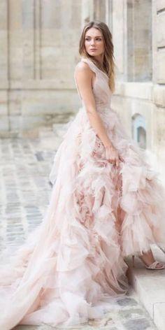 Color Trend: 18 Blush Wedding Dresses You Must See ❤ blush wedding dresses ball gown ruffled skirt moniquelhuillierbride ❤ #weddingdresses #weddingoutfit #bridaloutfit #weddinggown