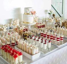 dessertbuffet desserts Table - Dessert Table Ideas On Your Happy Wedding Mini Desserts, Wedding Desserts, Wedding Decorations, Wedding Dessert Tables, Wedding Ideas, Dessert Recipes, Wedding Sweet Tables, Dessert Ideas For Wedding, Wedding Cake Cupcakes
