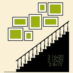 Wall Grouping idea for stairs wall