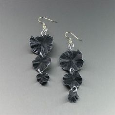 Black Anodized Aluminum Lily Pad Earrings