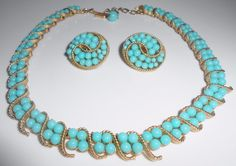 Trifari Turquoise Glass Necklace & Clip Earrings 1964 Samara Crown Trifari  #Trifari