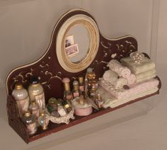 {IDEA} miniature: 1:12 dollhouse scale - beauty - Spa Wall Shelf by Lori Ann Potts