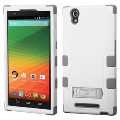 ZTE ZMAX Z970 Hard Cover and Silicone Protective Case - Hybrid Cream White/Iron Gray Tuff With Metal Stand 1