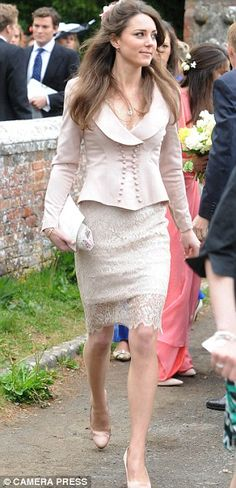 2010, as engagement speculation mounted, Kate, 28, wore pale silk and lace to the wedding of old friend Charlie Savoy and wife Lucy