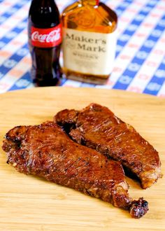 bourbon and coke steaks - tender meat marinated in coke, bourbon, sriracha, brown sugar, soy sauce,worcestershire & pepper