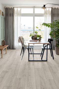 View and buy Quickstep Signature Brushed Oak Grey by leading UK flooring retailer Visit our website for latest flooring offers and promotions or ring 0800 Dining Room Floor, Home, White Laminate, White Laminate Flooring, Flooring, Furniture, Bathroom Installation, Room Flooring, Dining