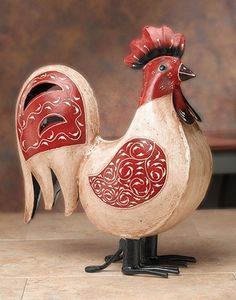 Classic Rooster Decor A symbol of good luck, a multicolor standing Rooster is said to bring prosperity and joyous events into the house. Rooster Kitchen Decor, Rooster Decor, Red Rooster, Country Decor, Farmhouse Decor, Chicken Kitchen, Doodle Doo, Red Cottage, Chicken Art