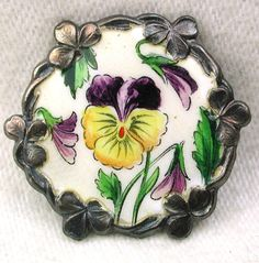 Antique Sterling Silver Enamel Button Pansy Design w Pansy Border 1 inch
