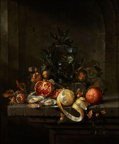 STILLLEBEN MIT FRÜCHTEN, AUSTERN UND EINEM RÖMER Öl auf Leinwand. Doubliert. 78 x 65,5 cm. Gemäß Vorbesitzer wurde die Echtheit des Gemäldes durch Fred...