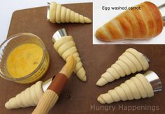 how to make cresent roll shaped carrots.. after baking you can brush on a mix of red& yellow to make orange food coloring and suff with egg or chicken salad & top with shredded lettuce!
