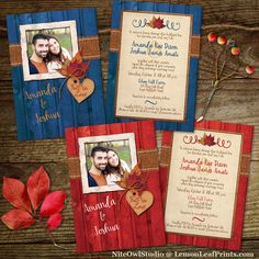 Rustic autumn maple leaves, burlap and wood plank fall in love photo wedding invitations.    Shop for the blue version here: http://lemonleafprints.com/photo-template-wedding-invitation-fall-in-love-autumn-leaves-faux-burlap-blue-wood.html    And the red version here: http://lemonleafprints.com/rustic-photo-template-wedding-invitation-autumn-leaves-faux-burlap-red-barnwood-fall-in-love.html