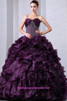 Dark Purple A-Line / Princess Brush Train Sweetheart Beading and Ruffles Quinceanea Dress Organza