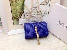 S/S 2015 Saint Laurent Bags Cheap Sale-Classic MONOGRAM SAINT LAURENT Tassel Satchel in Royal Blue Matelasse Leather