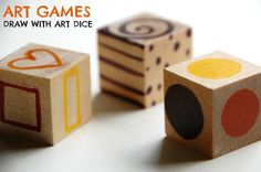 My kids get so much out of playing with these art dice. Toss the dice and draw what you see. It helps them build their visual vocabulary while being a fun way to spend an afternoon. The post has a link to a free downloadable paper dice template, in case you don't have blank wooden blocks to paint on. Art Games: Invite your Child to Draw with Art Dice  | Tinkerlab.com